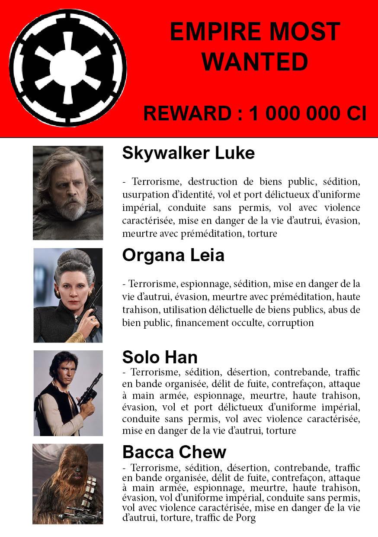 Photomontage de Duck montrant une affiche type interpole de recherche avec récompense de 100 000 CI de Luke, Leia, Han et Chewbacca