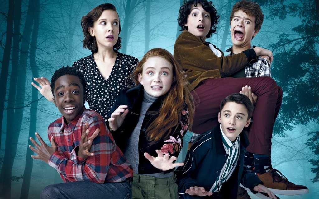 L'image présente les principaux protagonistes : Lucas, Eleven, Mike, Max, Dustin et Will