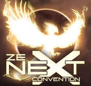 Image présentant un phoenix de lumière sur un fond marron, qui semble se poser sur le X de The Next convention