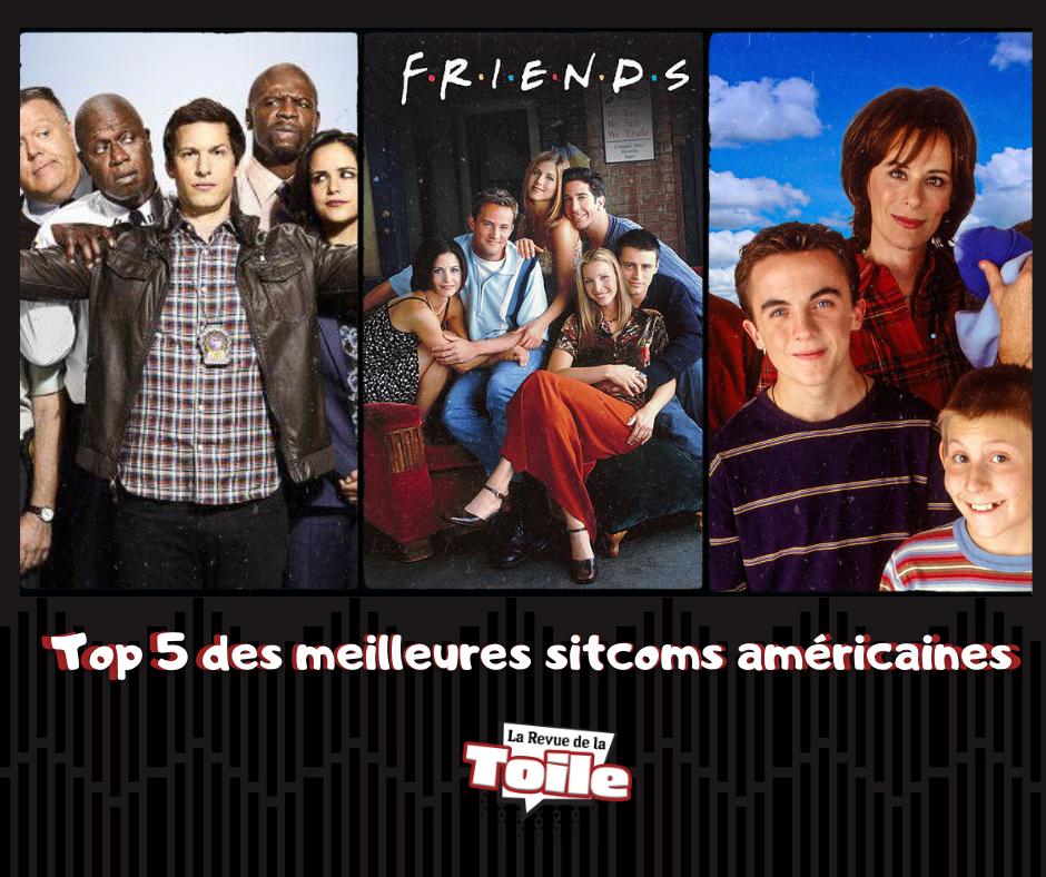 photomontage de trois séries qui se trouvent dans ce top : Brooklyn Nine-Nine, Friends et Malcolm, représentant les acteurs sur des affiches officielles