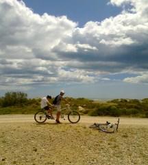 Dernière virée en tandem avec mon fils, en Camargue, l'année dernière.