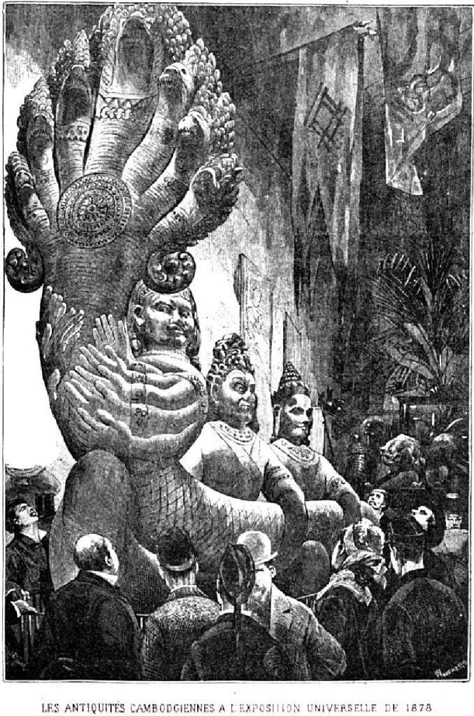 Fig. 1 : présentation de sculptures khmères à l'exposition universelle de 1878 (d'après, DELAPORTE L., Voyage au Cambodge. L'architecture khmer, Paris, C. Delagrave, 1880, p. 245).