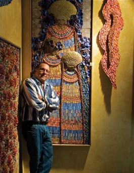 The artist with some of his recent creations
