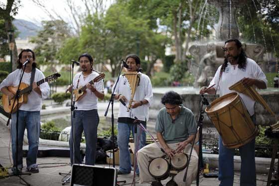 Grupo Sol Latino playing at La Antigua Guatemala's Central Park (photo by Pinar Istek)
