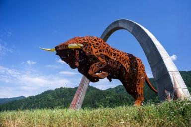 Red Bull statue of Red Bull Ring