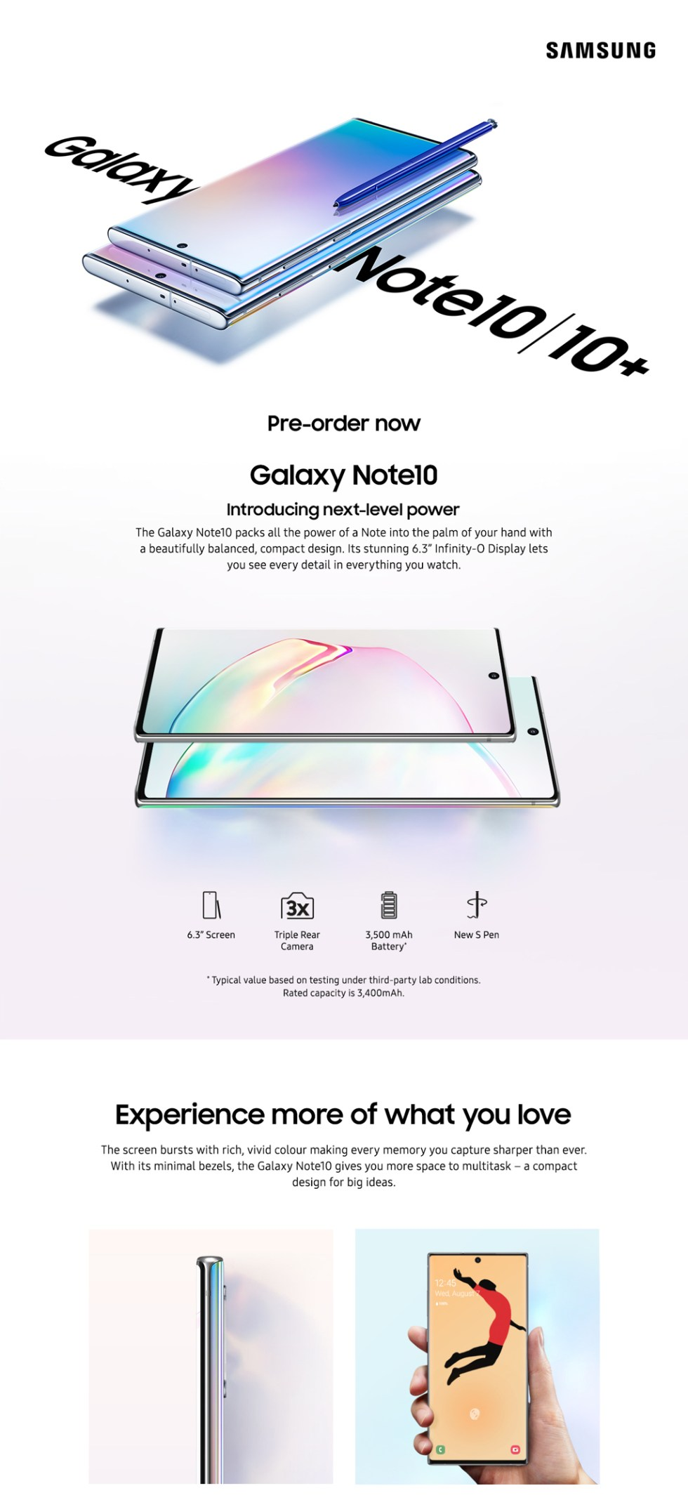 Samsung Galaxy Note10 Features