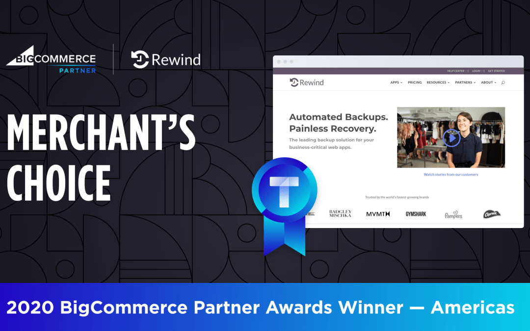 Rewind Wins Merchant's Choice Award at 2020 BigCommerce Partner Summit