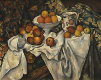 Cezzanne: Apples and Oranges'' . 1899; Oil on canvas, 74 x 93 cm (29 1/8 x 36 5/8 in) Musee du Louvre, Galerie du Jeu de Paume, Paris; Venturi 732. In this image the artist has represented the object.