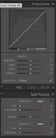 Tone curve, split toning, HSL, Colour + B&W sliders