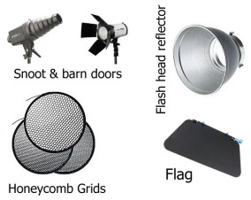 Snoots, barn doors and grids