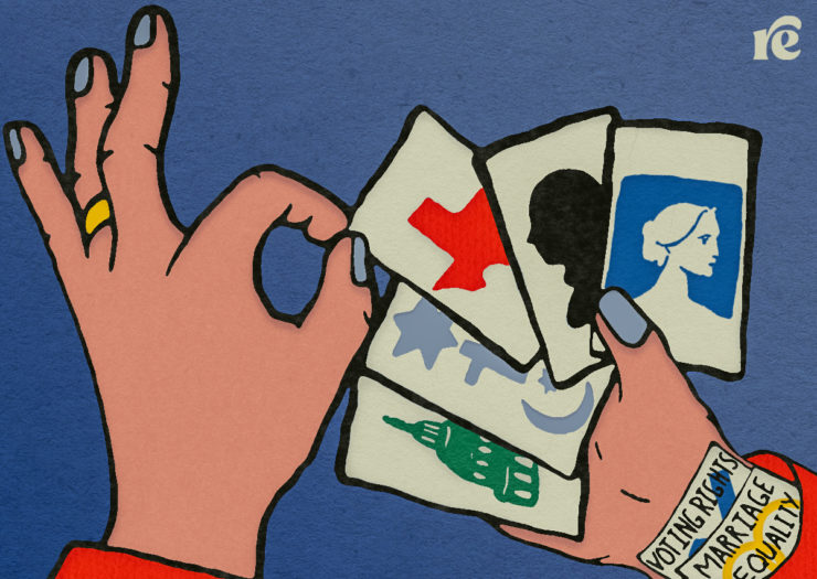 Graphic illustration of a hand holding deck of cards and cards up a sleeve that reads voting rights and marriage equality