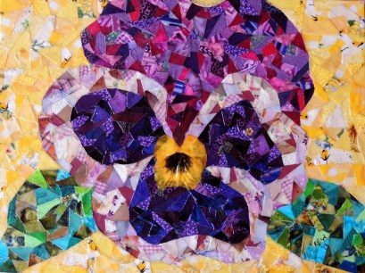 """Purple Pansy"", 9""x12"" fabric mosaic by Ruth Warren"