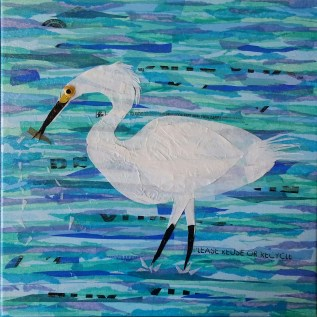 """""""White Egret Wading"""", 12""""x12"""" mixed media collage by Ruth Warren"""