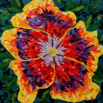 """""""Night Runner Hibiscus"""" by Ruth Warren, 12""""x12"""" mixed media featuring fabric mosaic and tissue collage"""
