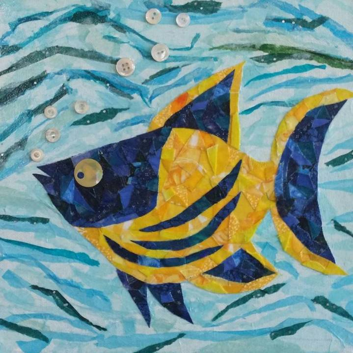 """Cheeky Fish #1"", 10""x10"" mixed media by Ruth Warren"