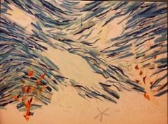 Work in progress: Long, slender strip of torn tissue papers defined the movement of the water.