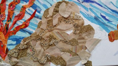 Work in progress: This piece of coral contains 100 year old quilt fabric.