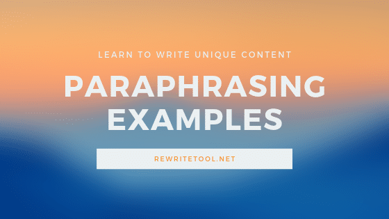 Paraphrasing Examples for a Better Writing