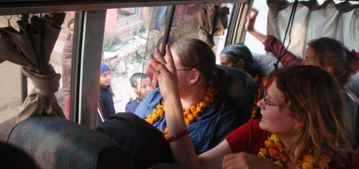 Saying good bye to our Nepali families