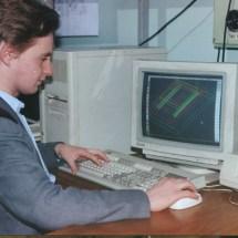 О. Горячко в лабораторії тунельної мікроскопії, 90-ті роки