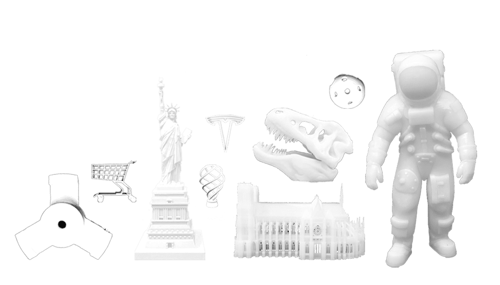 Examples of 3D printed items printed by rexroi