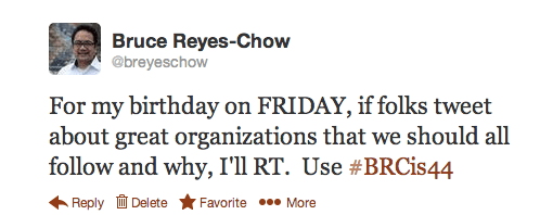 Bruce Reyes-Chow's 44th Birthday Tweet