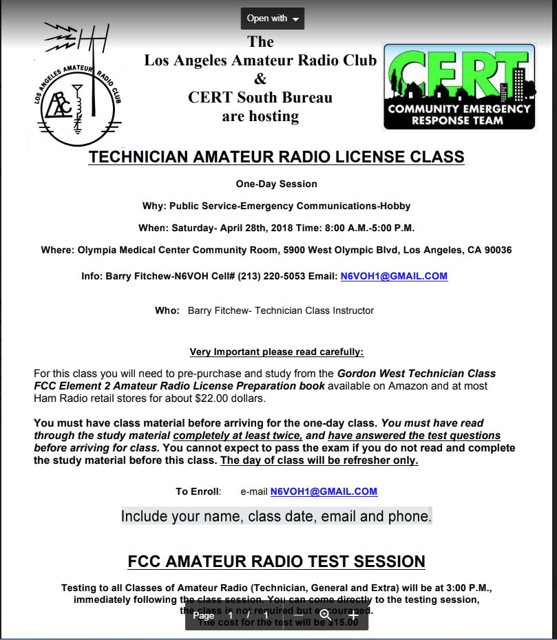 Ham Radio Testing & Training Class | reyniervillage org