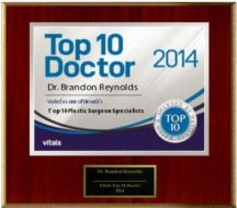 Top 10 Doctor plaque given to Las Vegas plastic surgeon Dr. Reynolds