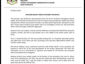 PM NAJIB RAZAK STATEMENT March 24 2014