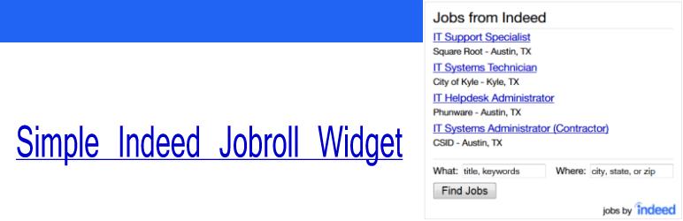 WordPress Plugin, Indeed WordPress Widget – Jobroll