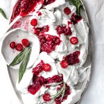 Pavlova Slab with Cranberry Chia Champagne Jam