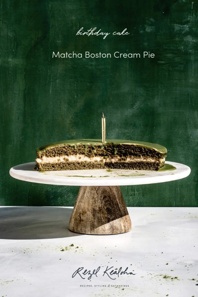 Grain Free Matcha Boston Cream Pie Recipe