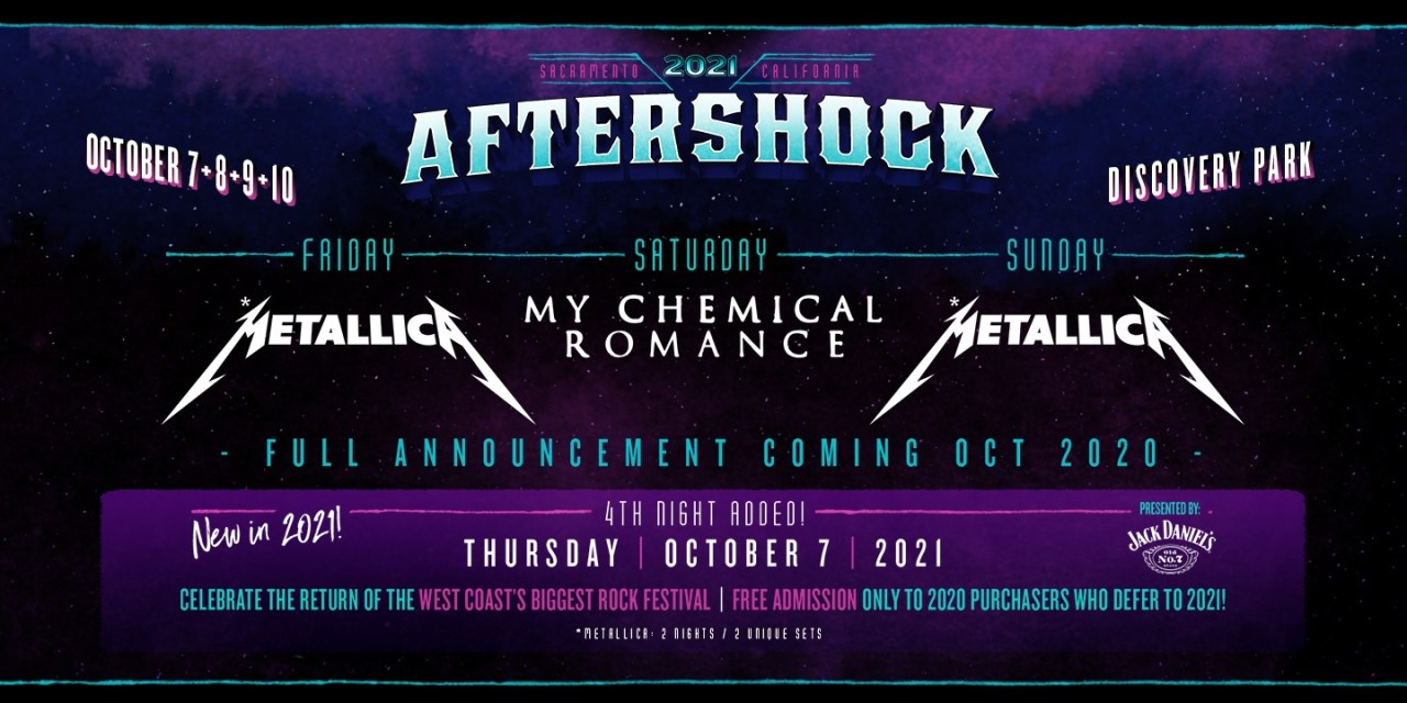 Aftershock festival is rescheduled for October 2021 – Metallica and My Chemical Romance will headline