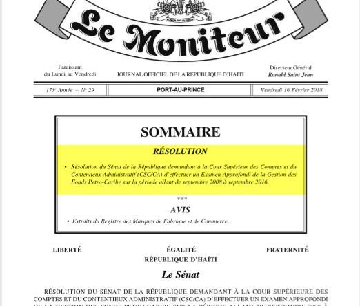 PetroCaribe : Une «résolution» de la honte promulguée par l'Exécutif