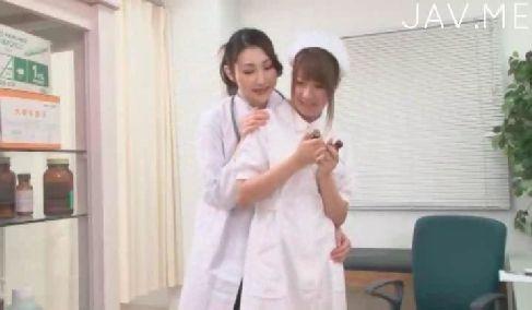 淫乱美人女医がギャル系巨乳ナースと仕事中に性行為を初めてレズプレイに励む女性用無料動画