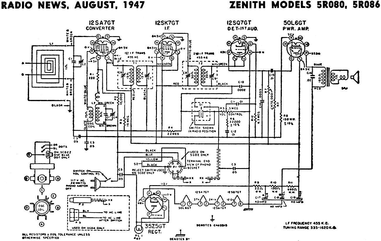 Zenith Models 5r080 5r086 Schematic Amp Parts List August
