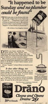 Plumbing myths. Old newspaper add for Drano drain cleaner