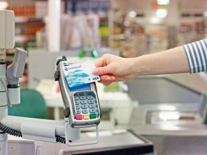Payment being made with barclay card RFID bank card