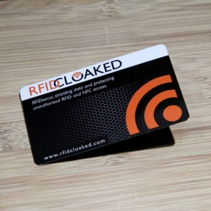 RFID blocking card in carbon design by RFID Cloaked stops both bank cards and HID prox security access passes
