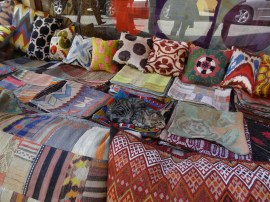 Colored pillows, rugs and blankets in Istanbul, Turkey