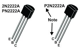 Η αντιστοιχία των ακροδεκτών του πλαστικού 2Ν2222.