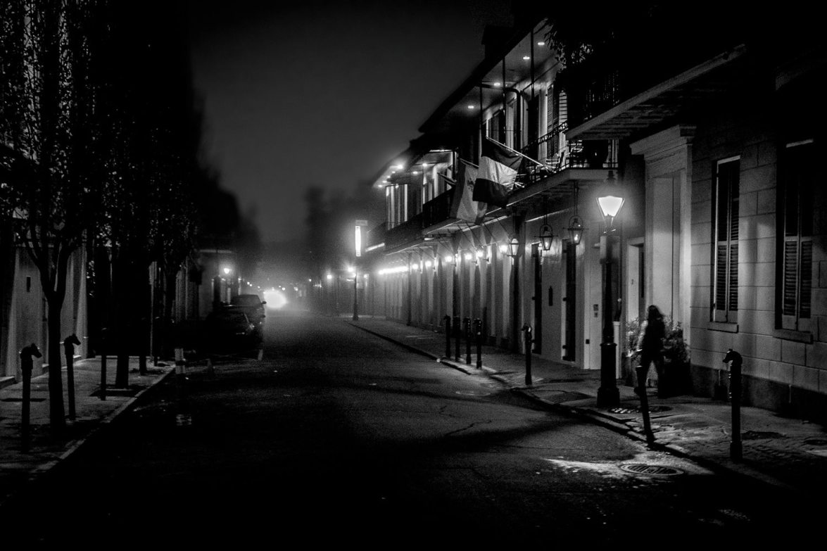 She walks to the work Chartres Street New Orleans from The Labor Suite- How We Work — at Hotel Provincial © Christopher Bryson