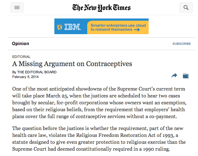A Missing Argument on Contraceptives (NY Times) – Religious
