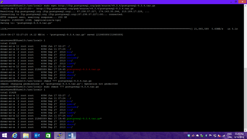 Instalando PostgreSQL en OpenSuse + Azure (5/6)