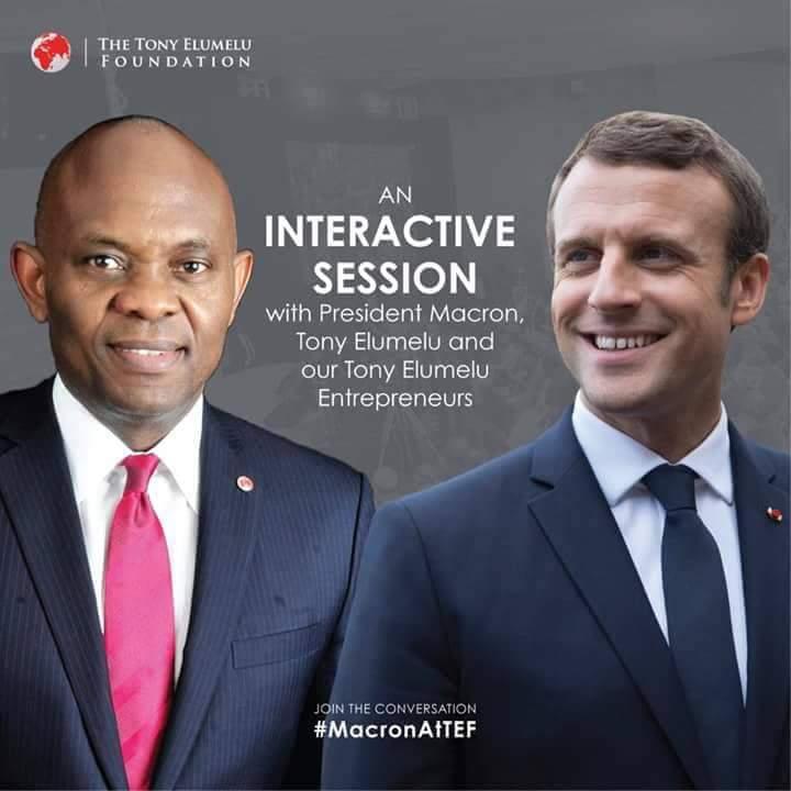 Maduo a ditshwantsho a Emmanuel Macron and Tony Elumelu images during intern in Nigeria