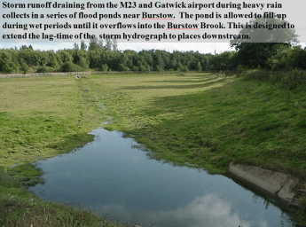 A flood attenuation pond near M23: