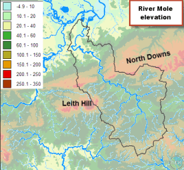 Mole drainage basin relief with Downs ridge