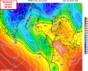 weekend warmer SE flow?