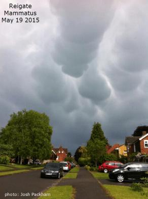 Reigate mammatus clouds