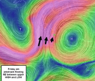 #3 Upper 250hPa jetstream drives flow from south